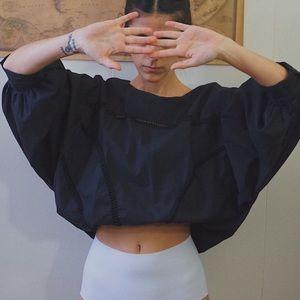 Black 3/4 bishop sleeve blouse